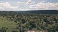 4 wheel drive on safari vacation adventure in Laikipia, Kenya. Aerial drone view