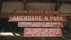 Aberdare National Park wooden information signboard, Kenya