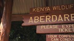 Aberdare National Park wooden information signpost, Kenya