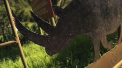 Metal silhouette of a rhino, Aberdare National Park, Kenya