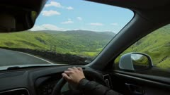 Scenic Driving on road trip in Lush Countryside and mountains of Snowdonia National Park - Inside Car POV point of view angle