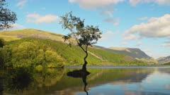 Lake Reflection with Summer Vibrant Colors at Llyn Padarn - Snowdonia National Park - Panning Reveal