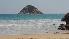 The Beautiful White Sand Beach In Hong Kong On A Bright Sunny Day - Wide Shot
