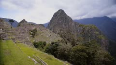 Machu Picchu ruins and terraces mountains landscape view, Peru