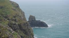 The Wonderful Scenery Of A Calm Sea in Skomer Island in Wales - Aerial Shot