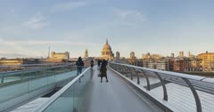 London Hyperlapse Timelapse, Hyper Lapse Time Lapse of People Walking over St Pauls Cathedral and Millennium Bridge, the Central London iconic landmark building in England, UK