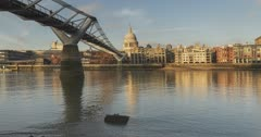 London Hyperlapse Timelapse, Hyper Lapse Time Lapse of St Pauls Cathedral and Millennium Bridge, the Central London iconic landmark with clear blue sky and River Thames in England, UK