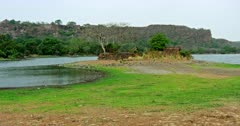 Pan shot of Ranthambore fort and lake area