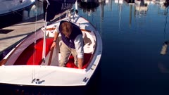 Man Install Electric Motor On Sailboat
