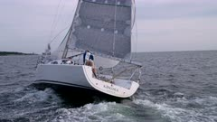 Sailing with Spinnaker and wipe out going past camera
