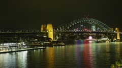 Ferry Passing Under Sydney Harbour Bridge, Timelapse 5K