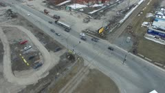 Aerial reveal shot of large deaffected incinerator building
