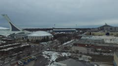 Long slow moving drone shot of Olympic Stadium in Montreal