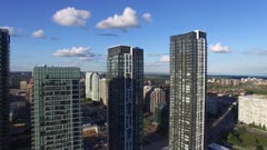 Very slow drone motion shot of highrise residential towers in Canada