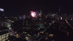 Aerial view of Toronto at night during fireworks shows at Canada Day