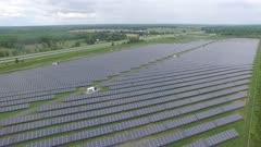 Impressive aerial shot of numerous solar panels creating renewable energy