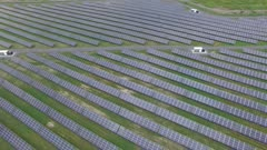 High number of sun energy boards setup in the same order filmed by drone