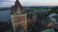Drone flying over Chateau Frontenac and positioning stable