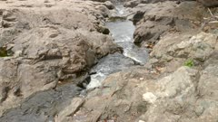 Pretty stream transforms into serious river in the cascades of Riviere Rouge