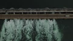 Straight overhead aerial shot of hydroelectricity power-dam in Canada