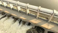 Cool shot of hydroelectric water station creating cascading waters