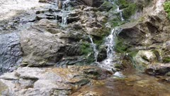 Amazing natural  waterfall rocky landscape in gatineau park close up