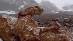 Sandstone Ventifact and rocky valley terrain in snow storm in Antarctic Dry Valleys