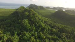 Aerial of tropical jungle covered hills, mangrove and rivers at sunset