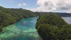Aerial shot of tropical islands and coral reef in Palau