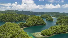 Aerial Hyperlapse flying low over Palau Rock Islands