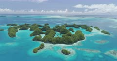Pull back aerial shot from Palau's 70 islands