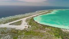 Aerial panning shot of Kanton Atoll, Phoenix Islands, Kitibati