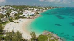 Aerial shot reversing away from beach in Bermuda