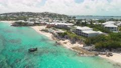 Aerial shot tracking along southern coastline of Bermuda