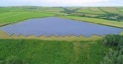 Aerial shot of solar farm in the UK (part of sequence)