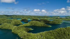 Aerial Hyper lapse ascending over Ngermid Bay in Palau