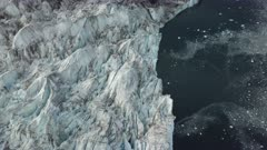 Aerial view of glaciers, topside, in East Greenland
