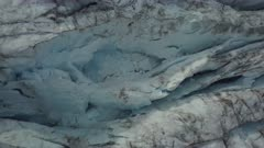 Aerial view above the glacier, in East Greenland