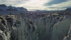 Aerial view inside the glacier, in East Greenland