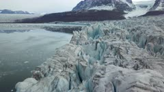 Aerial view above the glacier, in East Greenlande
