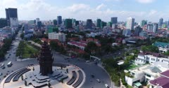 Drone footage of the Independence Monument in the city center. The camera is starting close to the monument and is going away following the Preah Sihanouk Blvd (274) and the Preah Suramarit Blvd (268) and goes over the Statue of King Father Norodom Sihanouk. You can also see the Phnom Penh city center and its numerous building in construction.