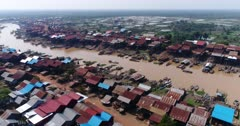 Drone footage of the stilt houses of Kampong Khleang. The camera is starting showing most of the wooden houses of the village surrounded by fields built along the Kam Flung Poo river and is going from one side of the river to the other.