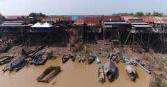 Drone footage of the stilt houses of Kampong Khleang. The camera is following the Kam Flung Poo river side showing the wooden houses of the village built along the river and the fields behind. A lot of local boats are parked in front of the houses.