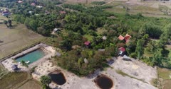 Drone footage of the northern part of Kampot, Cambodia. The camera is going over houses built near the Praek Tuek Chhu river, a swamp cover with nipa palm trees and dried rice fields.