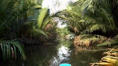 Canoe navigating the water between nipa palm trees and mangroves along the Prek Tuek Chhou river north of Kampot.