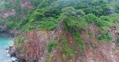 Drone footage of the reddish rocky coastline of Teun island with its luxuriant tropical vegetation. The camera is turning around a tree growing over the steep rocks.