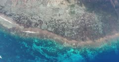 Drone footage of the mangrove area, shallow reefs and turquoise water of the north-eastern part of Lembongan island. The camera is facing down at birdview angle starting over the colorful shallow reef and is going towards the mangroves.