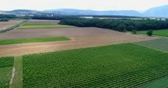 Drone footage of the countryside in Soral near Geneva with various fields (grape, wheat, corn,…) and villages. The camera is facing Geneva city far in the background and is panning showing the whole countryside from the Saleve to the Jura mountain.