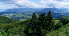 Drone footage of the forest covering the Saleve near Geneva and the countryside behing it with various fields, villages and the Alps mountains in the background. The camera is passing close over pine trees towards the countryside and the Alps.