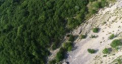 Drone footage of rocky vertical cliffs with trees of the Saleve mountain. The camera is going along the cliffs while descending towards the trees below.